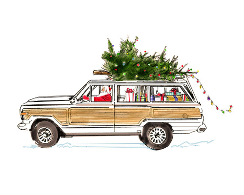 White Jeep Wagoneer Holiday-2x3.5 Present Tag-Merry Christmas 2015