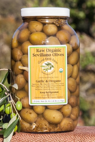 Raw Organic Garlic & Oregano Sevillano Olives