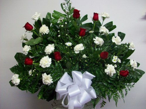Roses and Carnations Tribute Basket ES3038