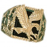 14k. yellow gold and onyx  eagle ring