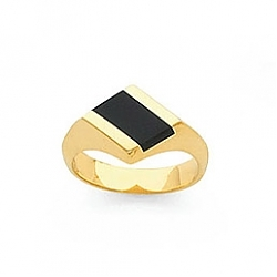 14K. GOLD ONYX LADY'S RING