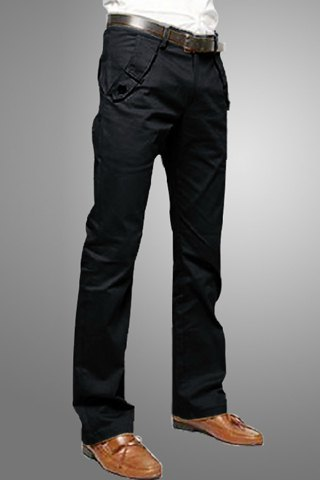 Casual Style Solid Color Zipper Fly Pocket Embellished Straight Leg Cotton Long Pants For Men-Black-30