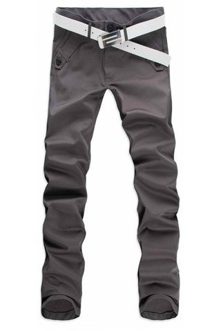 Straight Leg Cotton Long Pants For Men-36-Gray