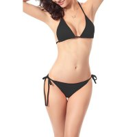 Sexy Solid Color Halter Lace-Up Women's Bikini Set