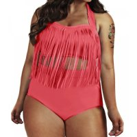 Sexy Solid Color High-Waisted Fringe Design Plus Size Bikini Set For Women-Pink