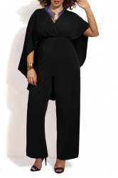 Trendy High Waist Batwing Sleeve Solid Color Chiffon Jumpsuit For Women