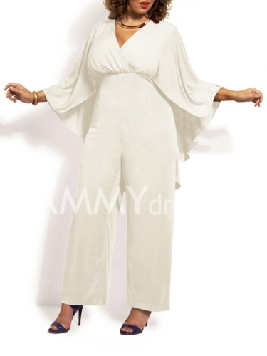 Trendy High Waist Batwing Sleeve Solid Color Chiffon Jumpsuit For Women-XL