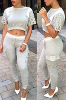 Casual Jewel Neck Short Sleeve Color Block Hollow Out Crop Top with  Drawstring Pants Twinset For Women