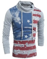 Western Style Drawstring Heaps Collar American Flag Print Hit Color Long Sleeves Slim Fit T-Shirt For Men