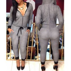 Casual Hooded Self-Tie Long Sleeve Jumpsuit For Women-med