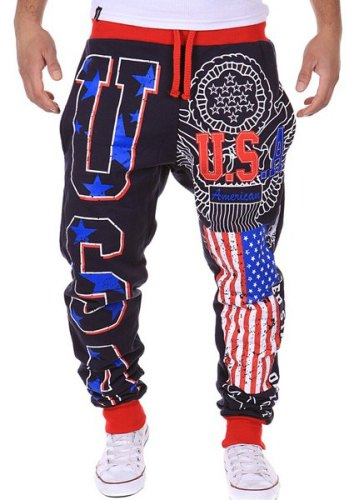 American Flag Star Letters USA Print Color Spliced Beam Feet Lace-Up Loose Fit Sweatpants For Men-Lg
