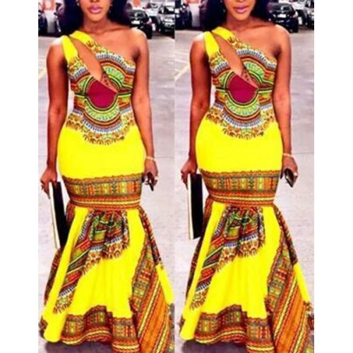 Ethnic Style One-Shoulder Sleeveless Hollow Out Printed Maxi Fishtail Dress For Women-Lg