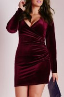 Attractive Solid Color V-Neck Long Sleeve Bodycon Mini Velvet Dress For Women