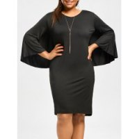 Solid Color Cape Dress For Women - Black