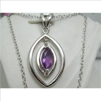 $1NR 100% Solid 925 Sterling Silver & Platinum 0.51 Carat TW Genuine Amethyst & Genuine Diamond Pendant