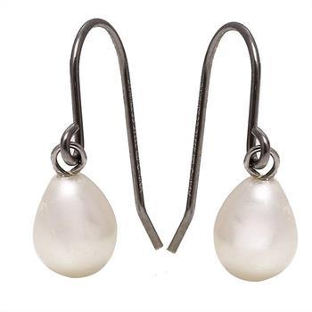 Classic 6x8mm Freshwater Pearl and Stainless Steel Earrings. Total weight 1.20 Grams