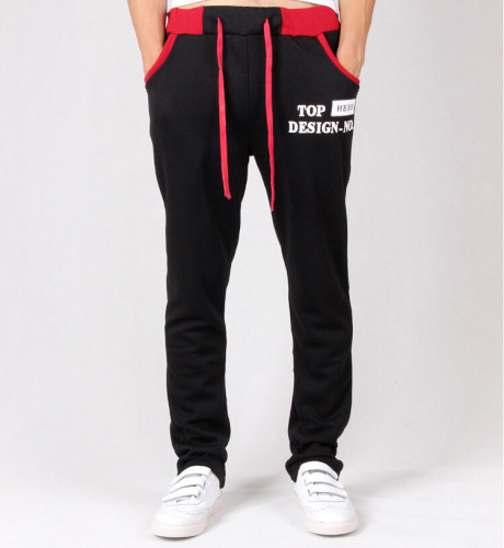 New fashion jogger pants for men-black/red-XXL