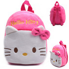 2015 High Quality Rose Red Hello Kitty Plush Cartoon Toy Backpack Girl Character School Bag