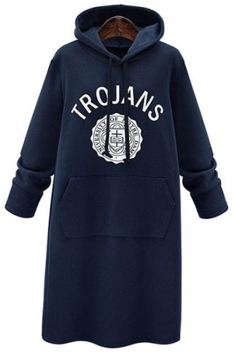 Chic Hooded Long Sleeve Letter Print Dress