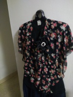 Flower Blouse with Pendant-XXXL