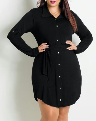 Fashionable Shirt Collar Long Sleeve Pleated Black Plus Size Dress For Women-2XL