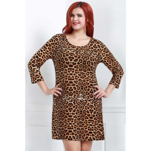 Fashionable Round Neck Leopard Print Plus Size 3/4 Sleeve Dress For Women-XL
