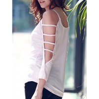 Women's Scoop Neck Cut Out 3/4 Sleeve Pure Color T-Shirt