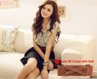 New Fashion Short-sleeve Dots Polka Waist Dress
