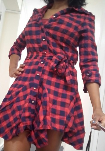 Collar long Sleeve women's Plaid Dress