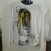 White designer novelty Tee ,  Long Sleeves