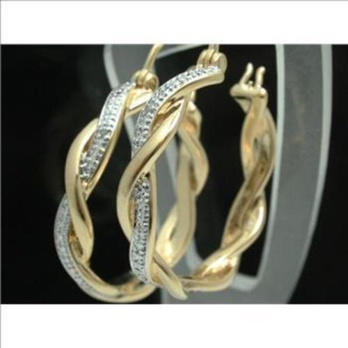 18K  G.P. Hoop Earrings with Diamond Accent