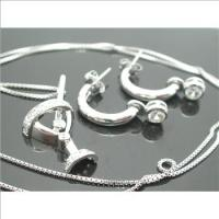 Platinum Over Sterling Silver, Martini Necklace&Earrings Set