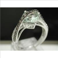 Authentic ColoreSG by LORENZO 925 Sterling Silver & 18k White Gold, Green Quartz, Snoky Quartz & White Topaz sz6.5 Ring