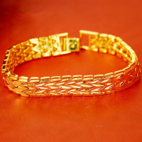wide bracelet 10K yellow gold plated