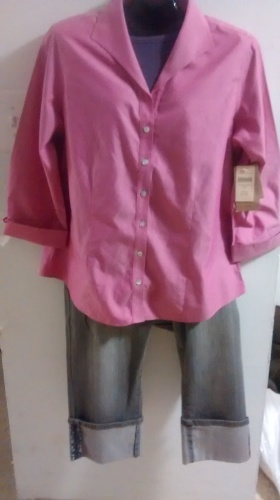 Pink Button up 3/4 sleeveTop