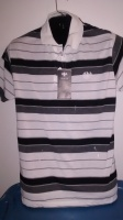 White Striped Polo Top