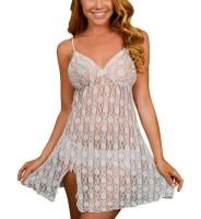 White - Floral Sheer Lace Babydoll Set