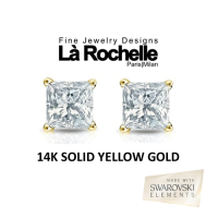 14K Solid Yellow Gold Swarovski Princess-Cut Earrings - 4MM