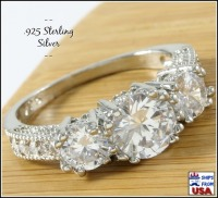 925 Sterling Silver Engagement & Wedding CZ Ring
