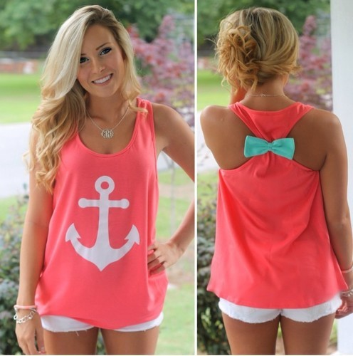 Ladies Print Anchor Tank Top