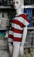 America Fashion USA Flag Print T-shirt Women Print Stars Striped Tees Shirts Summer Tops T shirt-L