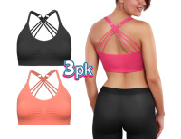 Womens 3-Pack Comfort Sports Active Fashion Bra Top