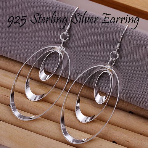 925 Sterling Silver Three Round Drop Earring Jewelry For Women