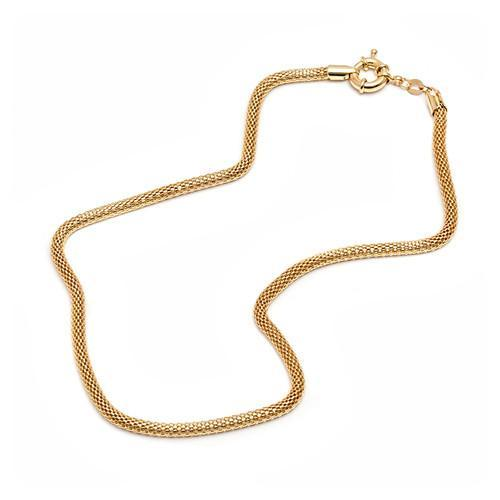 18K Gold Plated Gold Mesh Link Chain Necklace
