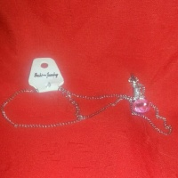 Fashion Jewelry, Necklace silver with pink stone