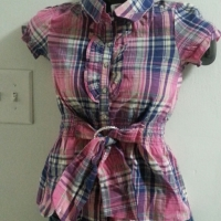 Girls collared top with belt