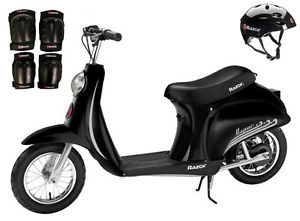 Razor Pocket Mod Vapor Electric Scooter (Black) w/ Helmet, Elbow and Knee Pads