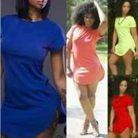 New Lady Women Sexy Solid Candy Color O-Neck Short Sleeve Mini Dress-XL