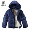 Little Boy Winter Jacket With Cotton-Padded Hooded Collar -Black-3T
