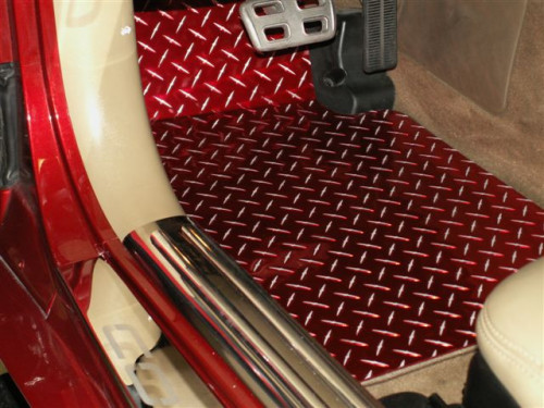 1997-2004 C5 - Red Diamond Plate Floor Mats 2Pc